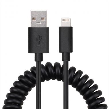 Gekrulde Lightning kabel 1 meter zwart