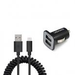 Duo USB autolader en gekrulde Lightning kabel 1,2 meter
