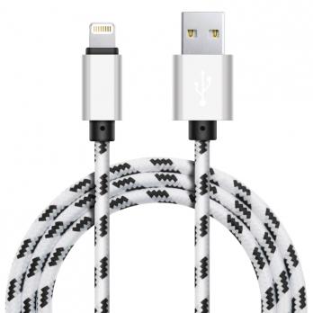 Xinnier nylon Lightning kabel 1 meter wit